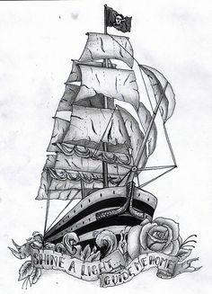 Ship tattoo by Sammy Brennan, via Flickr