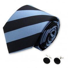 cravate club noire et bleu-metal et ses boutons de manchette