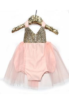 Birthday Belle Peach & Gold Sparkle Romper