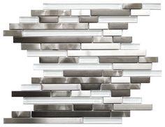 Modern Random Mix Steel - Glass II, Sheet - contemporary - tile - Eden Mosaic Tile