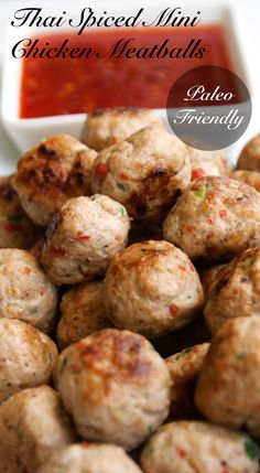 Thai Spiced Mini Chicken Meatballs. These are packed with wonderful Thai flavours. Garlic, ginger, chilli and coriander. Totally scrumptious. #Glutenfree #Paleo
