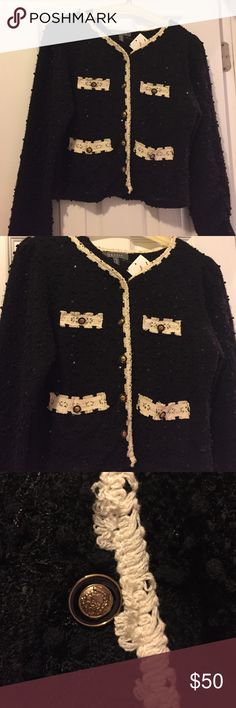 Timeless Classic boutique sweater jacket Black with cream trim and gorgeous buttons. Sequens add glimmer to this classic black jacket. The attention to detail with trimmed cuffs, neckline, and pockets make this an extra special must-have. Never Worn/tags. Jackets & Coats Blazers