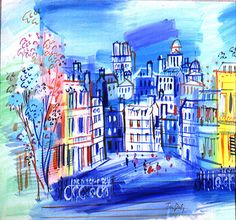 Jean Dufy was the younger brother of Raoul Dufy. nevitably, Jean Dufy's work continues to be compared to that of his brother. Jean painted frequently in watercolor and ink. Like his brother, his subject is often Paris. Raoul Dufy, Matisse, Watercolor And Ink, Watercolor Paintings, Painting Art, Art Fauvisme, Image Paris, Monet, Art Folder