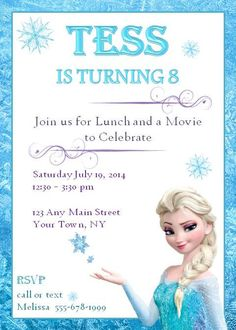 Frozen Birthday Invitation - Birthday invitation wording turning 5