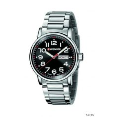 Wenger Attitude Day and Date Mens Swiss Army Watch (Stainless Steel Bracelet/Black Dial)