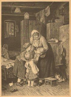 Children, Infant, Mother, Family Scene, Cats, German, 1881 Antique Art Print, #Vintage
