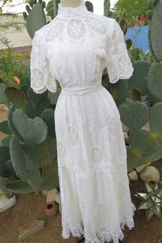 Superbly stitched and handcrafted, this extraordinary Edwardian lace dress a la…