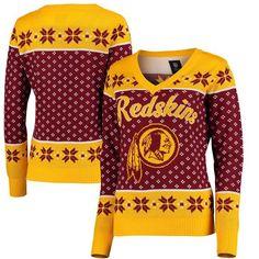 Washington Redskins Klew Women's Big Logo V-Neck Sweater - Burgundy Washington Redskins, Burgundy Sweater, Sweater Shirt, Nfl, Football, V Neck, Logos, Redskin Potatoes, Logo