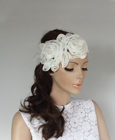 Ivory Applique Floral Bridal Headband Fascinator by MammaMiaBridal, $47.00