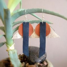 Lightweight handmade leather earrings (light gold, yam and denim colored with nickel-free hardware) by GotMySoul on Etsy https://www.etsy.com/listing/206927894/lightweight-handmade-leather-earrings