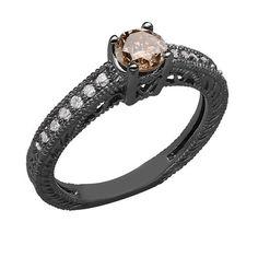 Champagne Brown Diamond Engagement Ring Vintage Style 14K Black Gold - http://blackdiamond-rings.com/champagne-brown-diamond-engagement-ring-vintage-style-14k-black-gold/