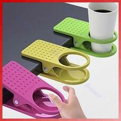 Drink Cup Coffee Holder Clip Desk Table Home Office Use on eBay! So cool but has to come from Hong Kong...