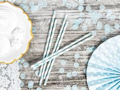 Partydekoration in tollen Pastelltönen - pastell party I pastel party decorations - Wohnaccessoires Pastel Party Decorations, Pastell Party, Space Party, Pretty Lights, Paper Straws, Pretty Pastel, Light Blue, Birthday Parties, Airplane