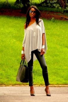 Leather pants and off the shoulder blouse