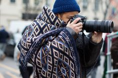 color!  and love blanket scarf.  yyyyy.  The Sartorialist