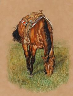 Grazing Saddle Horse entitled Playing Hooky from Colored Pencil drawing by Brenda Bruckner