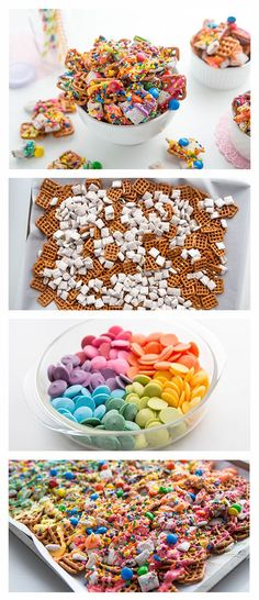 Rainbow Chex Mix. Using Chocolate Muddy Buddies, you can have the most colorful Chex Mix in the world! With only 15 minutes of prep, you can have this tasty snack ready in 25! What's not to love??: