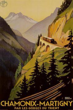 Vintage poster Chamonix-Martigny in France.