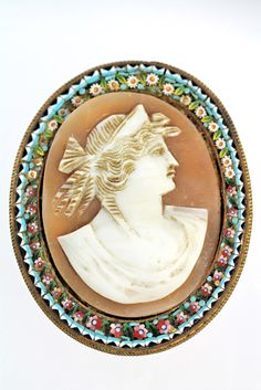 Antique Italian Millefiore Mosaic Carved Shell Cameo Brooch