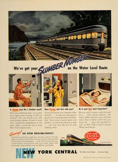 1946 ad New York Central Dreamliner Train art Vintage Print Ad by… Train Posters, Railway Posters, Train Art, By Train, Vintage Advertisements, Vintage Ads, Vintage Trains, New York Central Railroad, Railway Sleepers