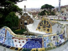 Colorful and bright mosaics in the park