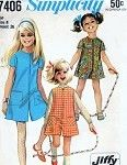 1960s Cute Little Girls Pant Dress Culottes Jumper Pattern Simplicity 7406 Jiffy Girls Pant Jumper Size 8 Vintage Sewing pattern