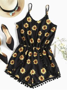 Breezy sleeveless playsuit in vivid sunflower print. It is tethered by adjustable shoulder straps and adorned by little pom poms accenting these tulip shorts. The fluid crepe fabric and the elastic waistline create such a flattering silhouette. #Zaful #Clothing #Rompers