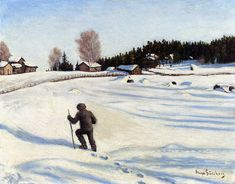 Talvimaisema Winter Landscape Hugo Simberg ca. Painting Snow, Winter Painting, Winter Szenen, Oil Painting Gallery, Snow Art, Vintage Winter, Oil Painting Reproductions, Vintage Artwork, Art For Art Sake
