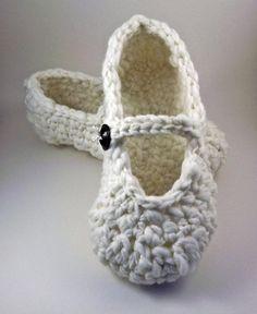 Mary Jane Slippers - crochet - for women. #slippers #crochet