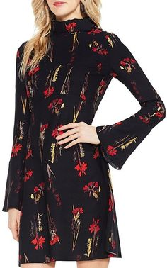 06aee3c25e4 VINCE CAMUTO Floral Print Bell Sleeve Dress Women - Bloomingdale s