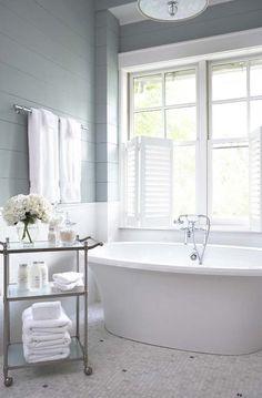 Beautiful Bathrooom. Sherwin Williams' Silver Mist walls; Linda McDougald Design
