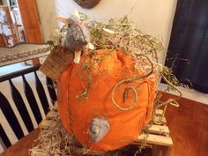 Primitive Mice Eating Pumpkin as Pie Fall Decor by Primigram, $27.00