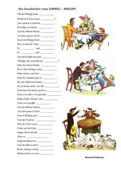 ZAPPEL PHILIPP - Heinrich Hoffmann Learn German, Activities, Literature, History, Children, Deutsch, German Language Learning