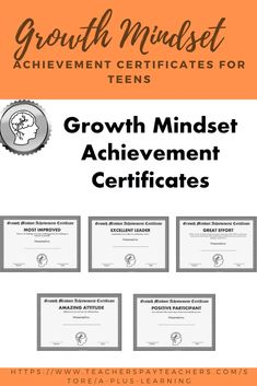 These growth mindset achievement certificates for teens are a great way to recognize your students throughout the year or end of the year. School Resources, Classroom Resources, Classroom Organization, Classroom Management, Insert Text, Student Awards, Go Getter, My Teacher, Growth Mindset