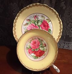 Beautiful Foley Tea Cup And Saucer Yellow with Pink Roses - Floral China Teacup Tea Cup