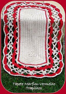 Tapete Retangular Marfim-Vermelho, Crochet em Trapilho ou Fio de Malha (Crochet Rag Rug)