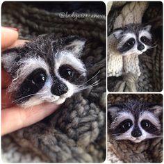 Еще немного малыша-енота;) ⭐️ #енот #еноты #енотполоскун #брошьручнойработы #брошьизшерсти #brooch #woolbrooch #needlefelting #needlework @pumpkintheraccoon #raccoon #babe #animals