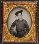 Unidentified young sailor in Union uniform]; sixth-plate ambrotype, hand-colored ; 9.3 x 8.2 cm (case).