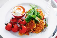Corn and ham fritters with roasted cherry tomatoes