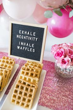 Inhale Waffles Letter Board Sign from a Valentine Waffle Bar Brunch on Kara s Party Ideas 3 Birthday Breakfast, Birthday Brunch, Easter Brunch, Birthday Parties, Birthday Ideas, 17th Birthday, Birthday Board, Husband Birthday, Brunch Party Decorations