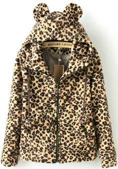 Abrigo pelaja leopardo con capucha manga larga-Kaki EUR€24.05