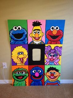 The Whole Gang Sesame Street Character Photo Party Cut-Out Prop Cookie Monster, Elmo, Big Bird, Oscar, Grover, Bert & Ernie, Abby Cadabby