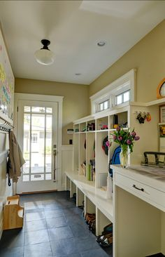Idea for Laundry Room cubbies? built-ins-coat-rack-mud-room-mudroom - would use different lighting Mudroom Laundry Room, Large Laundry Rooms, Laundry Room Shelves, My New Room, Built Ins, My Dream Home, House Plans, New Homes, House Design