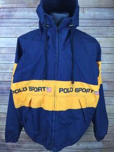 RARE!!! Vintage 90s POLO SPORT Windbreaker Jacket Vintage 90s Polo Sport Spell Out Big Logo black/white Color//Large Size iDTfu