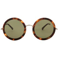 THE ROW Tortoise Round Sunglasses (¥198,465) ❤ liked on Polyvore featuring accessories, eyewear, sunglasses, glasses, round tortoiseshell sunglasses, lens glasses, tortoise shell sunglasses, round tortoise shell glasses and tortoise shell glasses