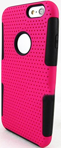 """myLife 2 Layer Neo Hybrid Bumper Case for iPhone 6 Plus (5.5"""" Inch) by Apple {Inky Black + Glamorous Pink """"Perforated Mesh Net"""" Two Piece SECURE-Fit Rubberized Gel} myLife Brand Products http://www.amazon.com/dp/B00PT422JY/ref=cm_sw_r_pi_dp_Nd2Cub0YKCPXF"""