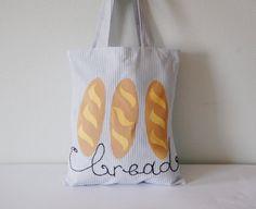 Linen tote bag Farmers market bag Fresh bread Farmers by Apseed