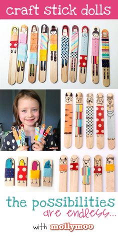 I've never witnessed Molly so engaged, bordering on fanatic, about a craft as she has been with these Craft Stick Dolls. With just popsicle sticks, washi tape and markers she has been growing her family of dolls every day this week Quick Crafts, Craft Stick Crafts, Crafts For Kids, Craft Sticks, Match Stick Craft, Kids Popsicle Stick Crafts, Lolly Stick Craft, Summer Crafts, Summer Fun
