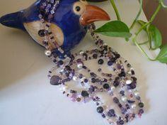 Collana a tre fili ametiste perle di fiume di JujuFantasy su Etsy