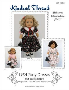 "1954 PARTY DRESSES 18"" DOLL CLOTHES"